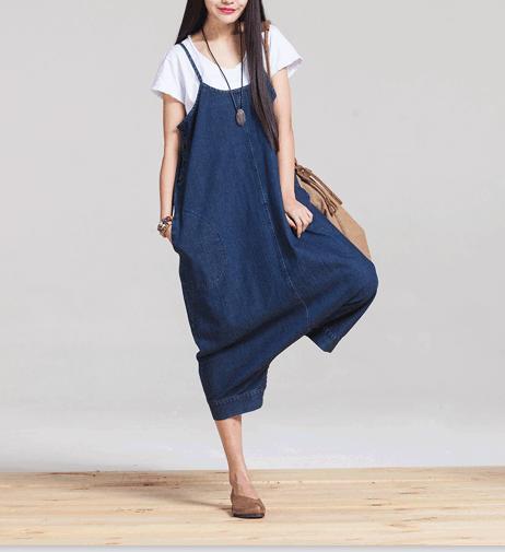 2016 Spring/summer Women New Overalls Jumpsuits Plus size Denim Trousers loose harem pants Wide leg jeans Capris Blue pockets - Werainyee Store store