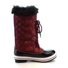 Mujeres del cuero del Faux Faux Nylon piel suela de goma con cordones impermeable acolchado mitad de la pantorrilla invierno botas de nieve lluvia zapatos(China (Mainland))