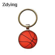 ZDYING moda voleibol baloncesto vidrio foto llavero cabujón redondo llavero colgante para niños niñas regalo V001(China)