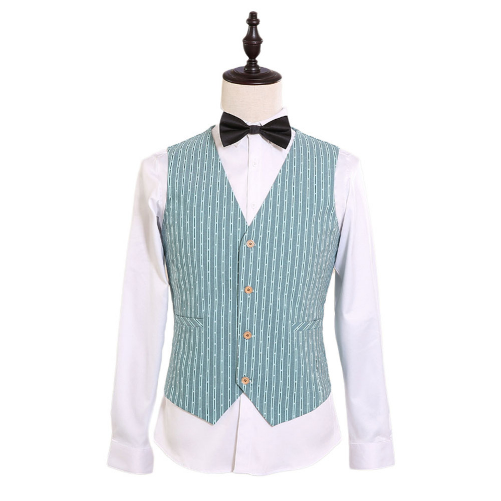 2017 New Design 2 Pocket 4 Button Custom Made Green and White Wedding Vest Bridegroom Business Party Vest