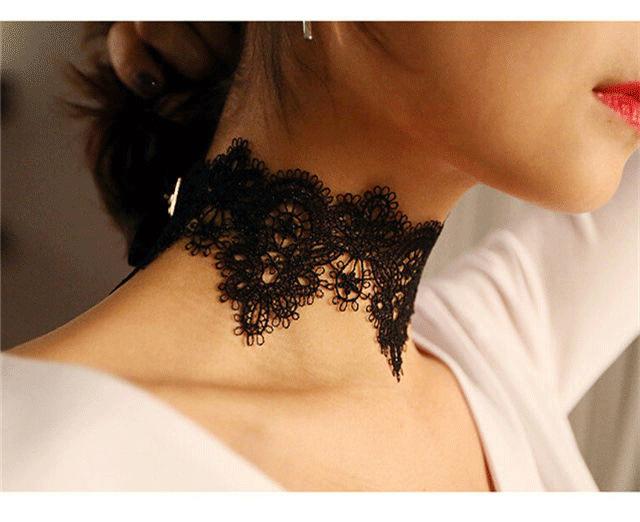 Black Lace Choker Necklace Women chockers Boho flower Gothic Chokers 2017 vintage necklace Fashion jewelry