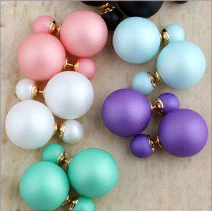 Hot Selling Fashion Jewelry women Genuine Brand Double Side matte Pearl Stud Earrings Big Fashion earring for women(China (Mainland))