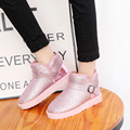 Winter New Plush Warm Snow Boots Pink Glitter Short Buckle Flats 2016 Women Ankle Boots 6