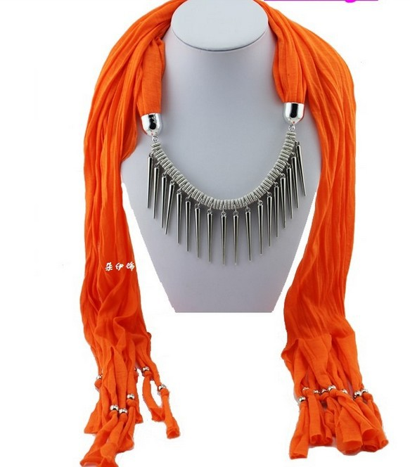 Fashion Autumn Winter Orange Cotton Scarves Long Rivet Punk Charms Necklace DIY Jewelry Lady Scarf Free Shipping 5PCS P228(China (Mainland))