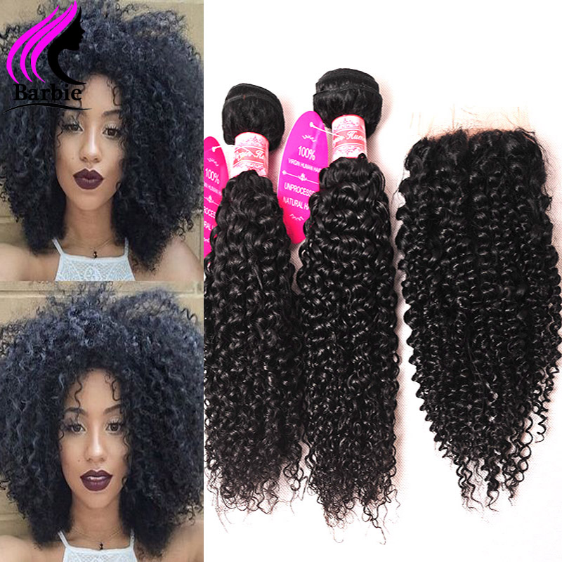 Human Sexy Formula Hair Malaysian Curly Hair With Closure 4 Bundles With Closure Malaysian Kinky Curly Virgin Hair With Closure
