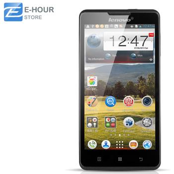 Оригинал Lenovo P780 сотовых телефонов 5 дюймов HD 1280 x 720 MTK6589 четырехъядерных процессоров 1.2 ГГц 1 ГБ RAM 4 ГБ 8.0MP камера 4000 мАч аккумулятор