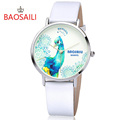 Women watch Peacock Design Silver Case Japan Movt Water Resistant fashion Watches With High Quality PU
