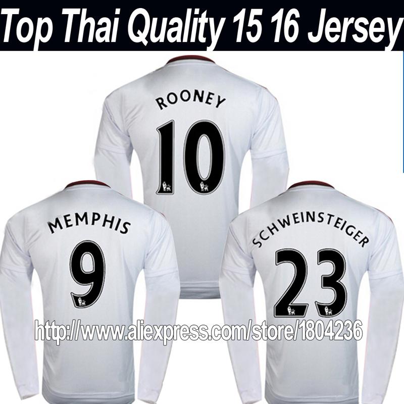 Thai Quality 2016 ROONEY Long Sleeve soccer jersey 15 16 AWAY white full sleeve football shirts SCHWEINSTEIGER MEMPHIS V.PERSIE(China (Mainland))