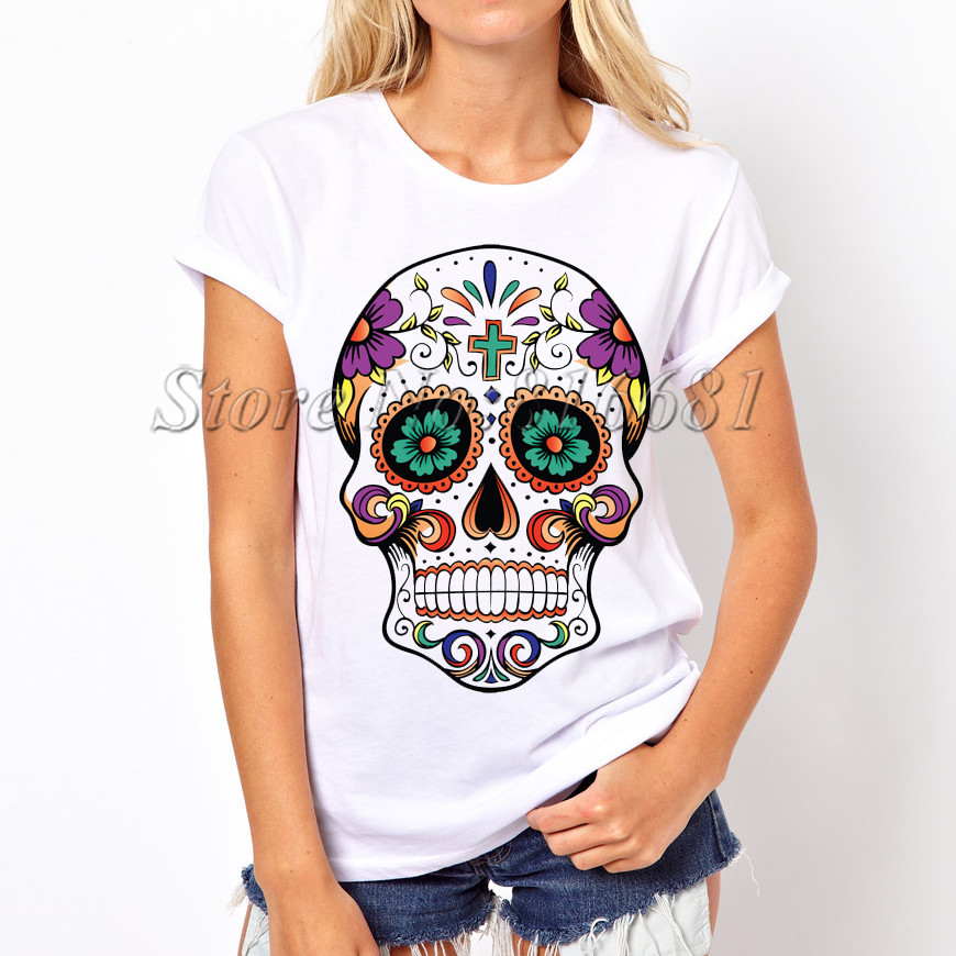 Hot Sale 2016 Fashion Design Sugar Skull T Shirt O Neck: how to design shirt