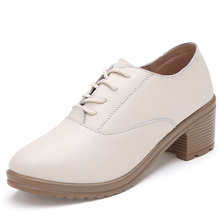 2015 Spring thick heel high-heeled shoes low-top fashion preppy style round toe genuine leather shoes women pumops