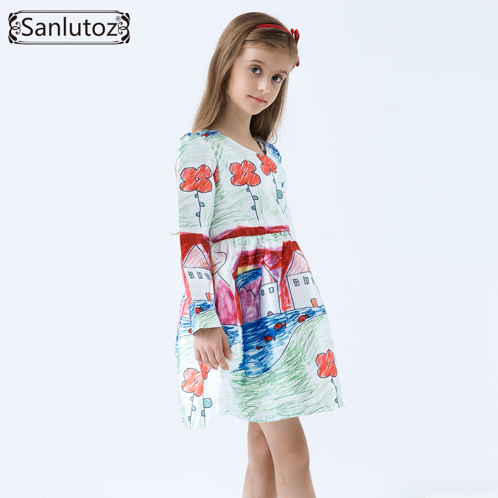 Girls Dress Winter Children Clothing Brand Girls Dress Cartoon Kids Clothes for Princess Holiday Party Wedding Baby Toddler(China (Mainland))