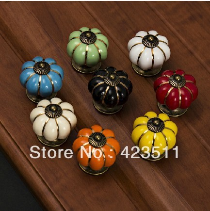 Good Quality.10 Pcs 40mm Kitchen Ceramic Door Cabinets Cupboard Pumpkins Knobs Handles Pull Drawer
