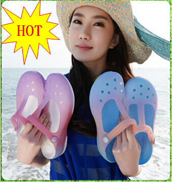 Hot-selling 2014 ,Color gradient Mary Jane jelly shoes slippers thick bottom hole shoes lady sandals beach sandals,Free shipping(China (Mainland))