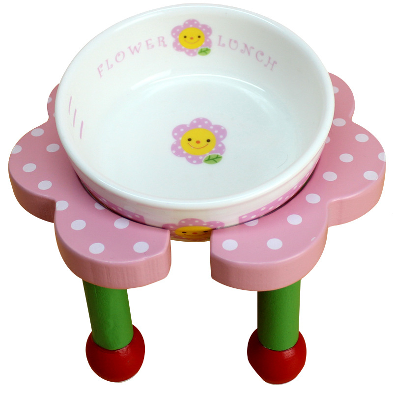 Super cute Pet dog Ceramic bowl Bracket wooden material pet dog dining table 17.5cm x 8.5cm multicolor sent at random(China (Mainland))