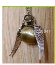 fashion silver wings Harry Potter gold golden snitch pocket watch necklace with chain