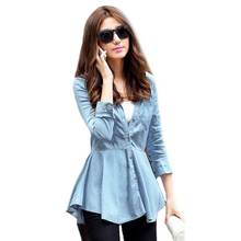 Orchid Women Long Sleeve Retro Vintage Washed Blue Slim Fit Denim Shirt Peplum Blouse Hooded Tops(China (Mainland))