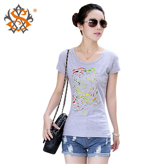 Мода женская одежда 2015 лето с коротким рукавом Футболки женские скретч сплошной цвет О-Образным Вырезом хлопок топы тис футболки