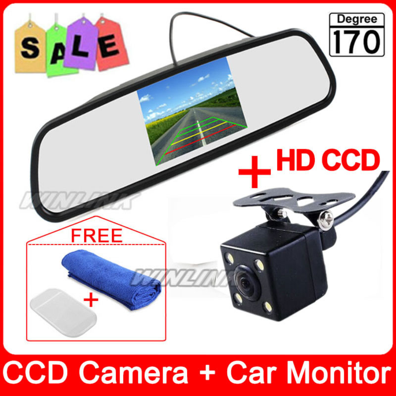 Car Parking Assistance System 4.3 Inch TFT LCD Reverse Mirror Rearview Monitor + 4 LED Lights IR Rear View Camera - Esson Technology store