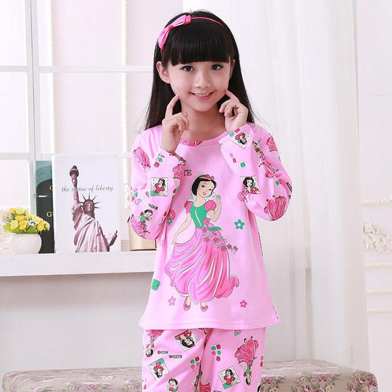 2016 Christmas Cartoon Print Kids Girl's Pajamas Set, Pink Girls Pyjamas(China (Mainland))