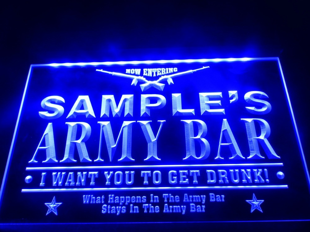 DZ060- Name Personalized Custom Army Man Cave Bar Beer LED Neon Light Sign(China (Mainland))