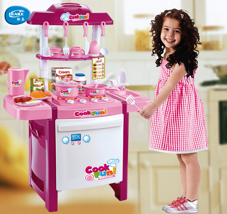 Kids Simulation Kitchen Toys Children Play Baby Set Light & Sound Pink Red Gifts - S L store