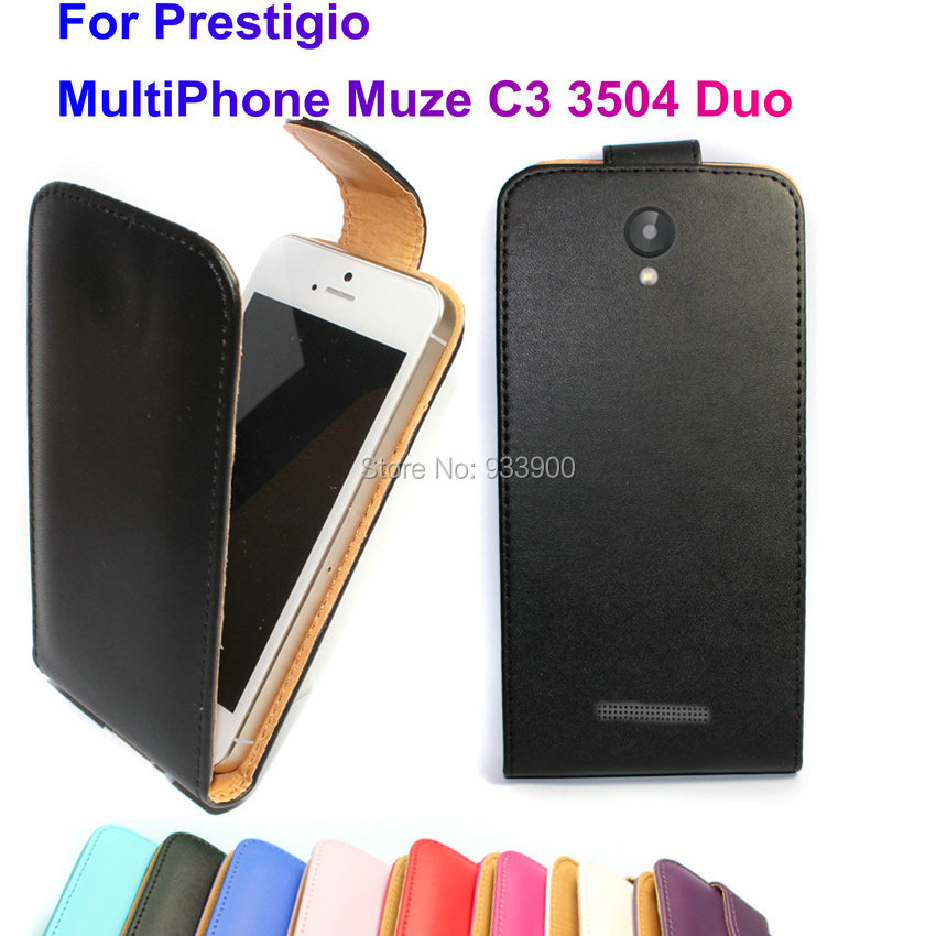 For Prestigio MultiPhone Muze C3 3504 Duo / Hot Fashion Clamshell PU Leather Protection Flip Case Cover / You choose the color(China (Mainland))