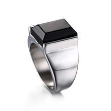 วินเทจสีดำ Onyx หินแหวนเงินสแตนเลสสตีลแหวนผู้ชายไม่เคย(China)