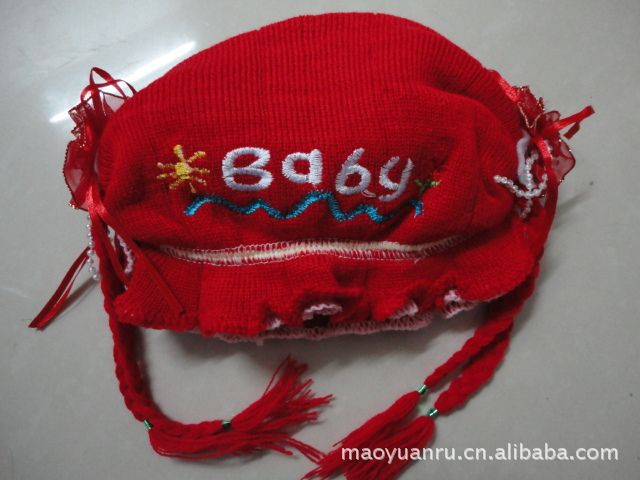 Manufacturer Embroidered Winter Baby Little Angel knitted Wool Hat Girls Children Hat(China (Mainland))
