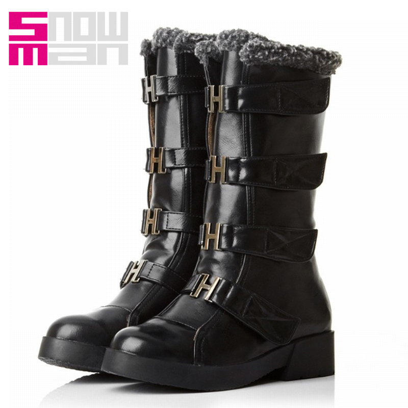 Brand Cool Skid Proof Flat Sole Metal Buckle Strap Velcro Fur Snow Boots for Women Motorcycle Boots Winter Boots Women's Shoes