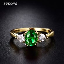 Buy BUDONG Women Infinity Rings Gold-Color Ring Oval Green & White Crystal Rings Jewelry wholesale Party Fashion goods xuR221 for $2.98 in AliExpress store