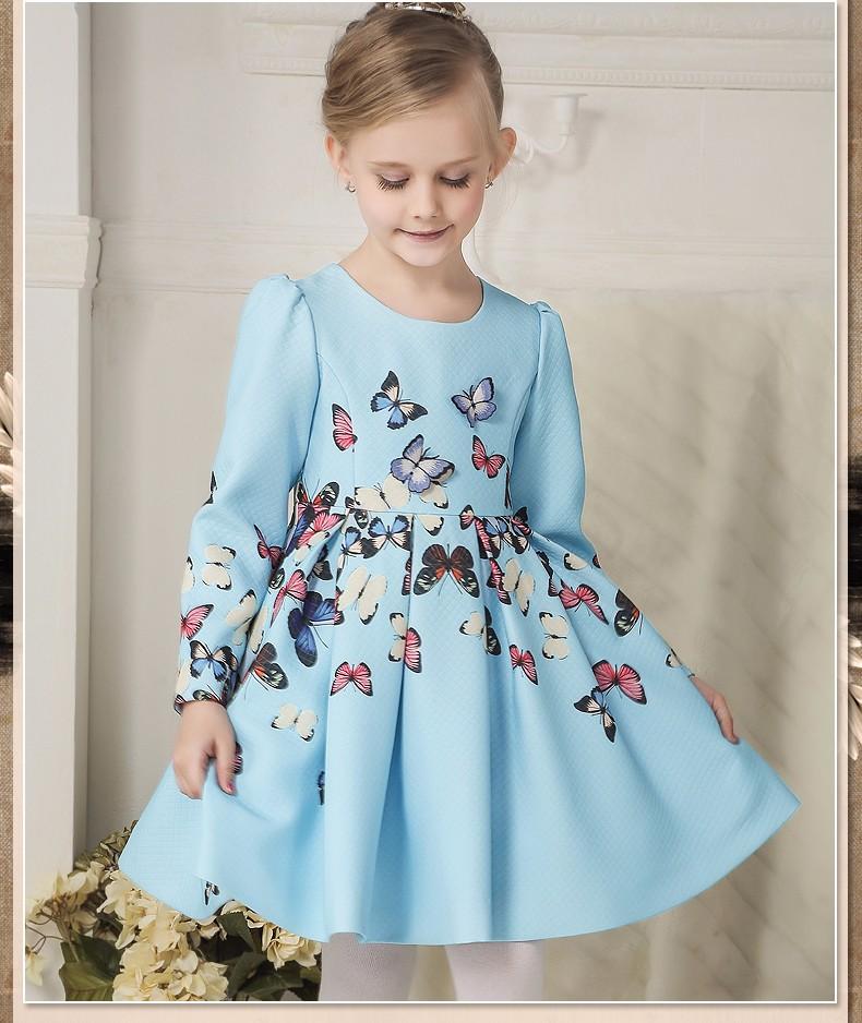 Скидки на Девушка ну вечеринку платье 2016 новый европейский и американский стиль бабочка напечатаны длинный рукав девушка платья девочек детские платья девушка
