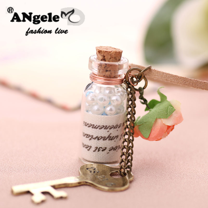 New Imitation Pearls Wishing Bottle Pendant Necklaces Fine Rope Chain Cloth Flowers Alloy Key Tassel Long Necklace Sweater Chain(China (Mainland))