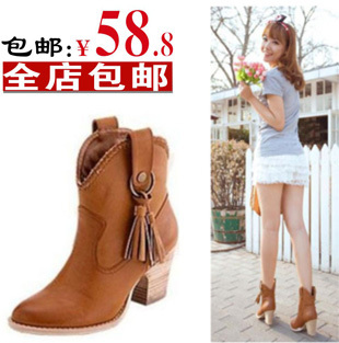 Snow boots female shoes high-heeled tassel single denim cotton - Online Store 808308 store