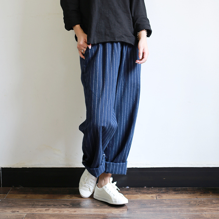 2016 Women Vertical Striped Loose Cotton Loose pants Female Casual Striped Trousers Ladies Plus Size Wide Leg Pants