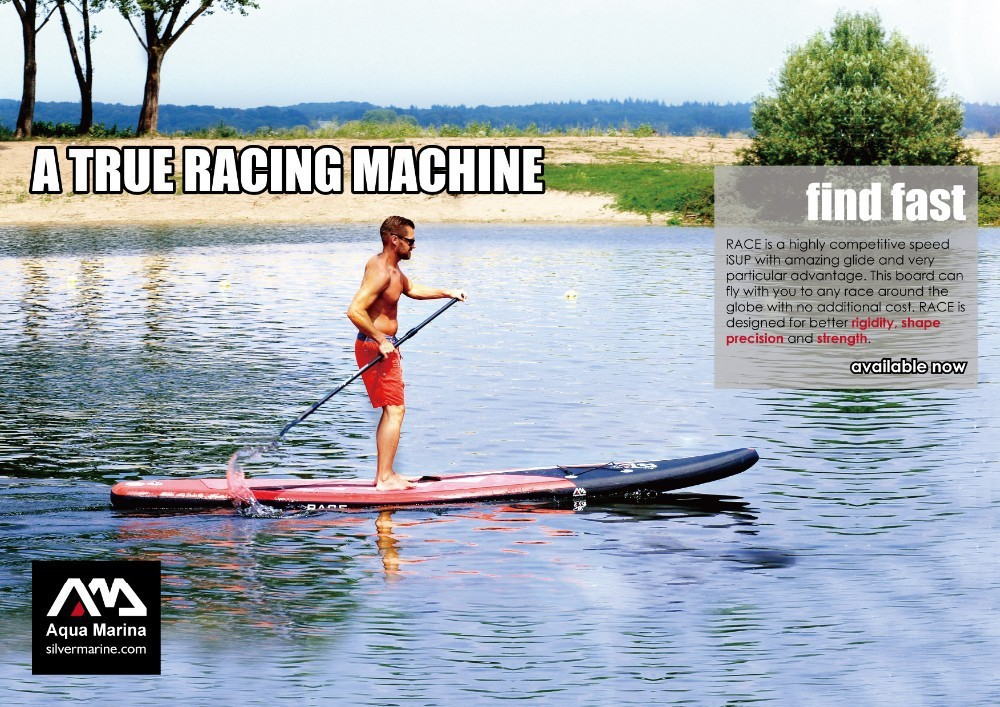 2015 New Aqua Marina RACE 14ft Inflatable Sup Surfboard Paddle board Surf board SUP Kayak Inflatable fishing boat for sale(China (Mainland))