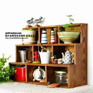 free shipping, Zakka wood retro finishing display cabinet collection cabinet multi-layer storage wool hot-selling crafts