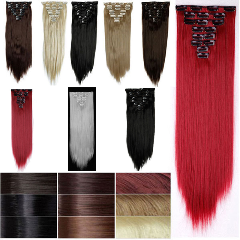 """2016 Hot Fashion Sexy Hair Extension with 8pcs 23"""" Long Straight Synthetic 10 Colos You Choose To Be A Shine Lady free Shipping(China (Mainland))"""