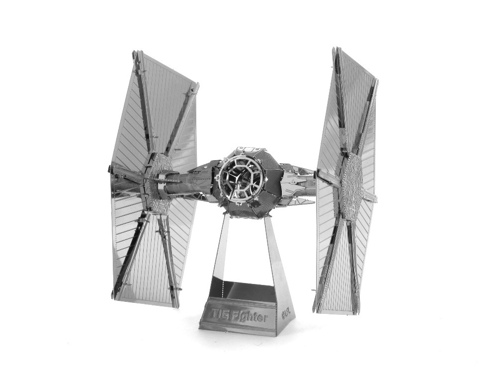 Zaping Tie Fighter model laser cutting 3D puzzle DIY metalic spacecraft jigsaw free shipping Star war