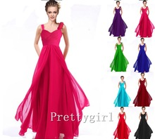 ZJ0010 flower ruffle two shoulder hot pink purple blue black colored chiffon long ball party gown bridesmaid dresses