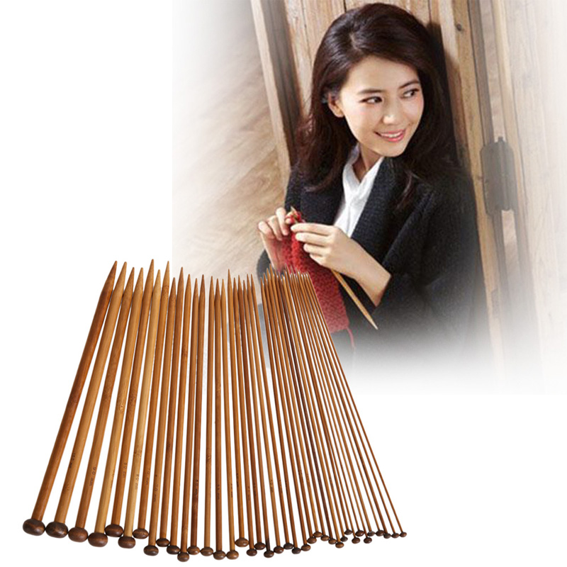 36Pcs 18 Sizes Carbonized Bamboo Knitting Needles Set Single Smooth Crochet Needles Needle Arts Tools