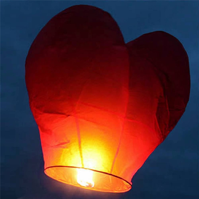 10Pcs Red Heart Shape Flying Sky Lantern with Fuel Block Chinese Kongming Lantern Wedding Birthday Party Propose Wish Articles(China (Mainland))
