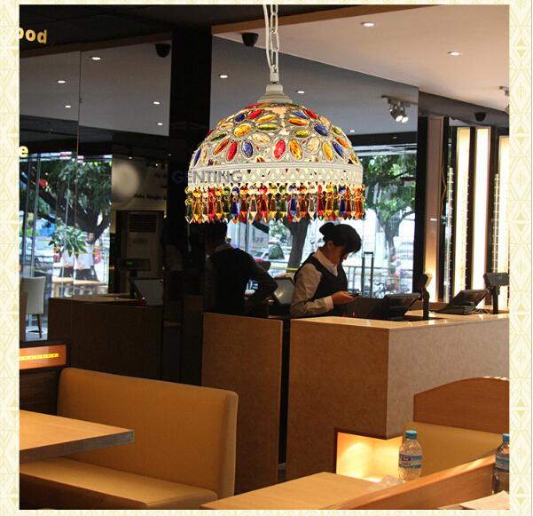 fashion lighting 100%quality exotic southeast Asia bohemia tiffany colorful crystal 31*31*25cm led e27 pendant light for entranc(China (Mainland))