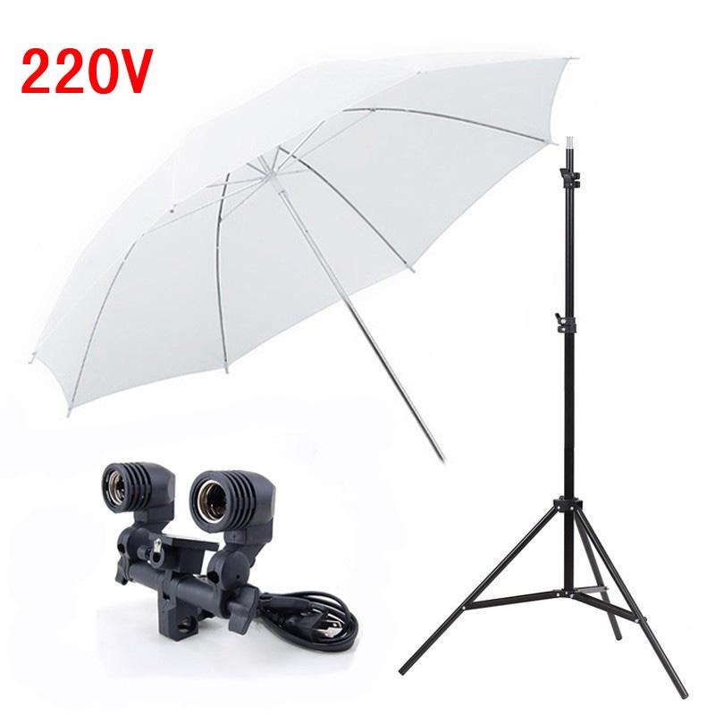 Photography Studio Lighting Kits Light Stand White Umbrella 220v Twin Umbrella Holder Bracket Photo Studio Set
