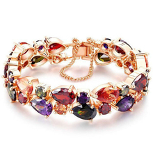 Buy 16cm Luxury Colorful Zircon Bracelet Romantic Rose Gold Color AAA Cubic Zirconia Bride Bangle Bracelet Fashion Jewelry BR00051 for $7.11 in AliExpress store