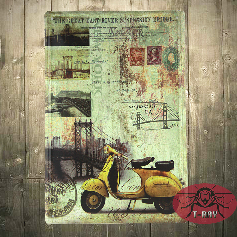 Vespa scooters wall mural painting decorative painting for Decor mural metal