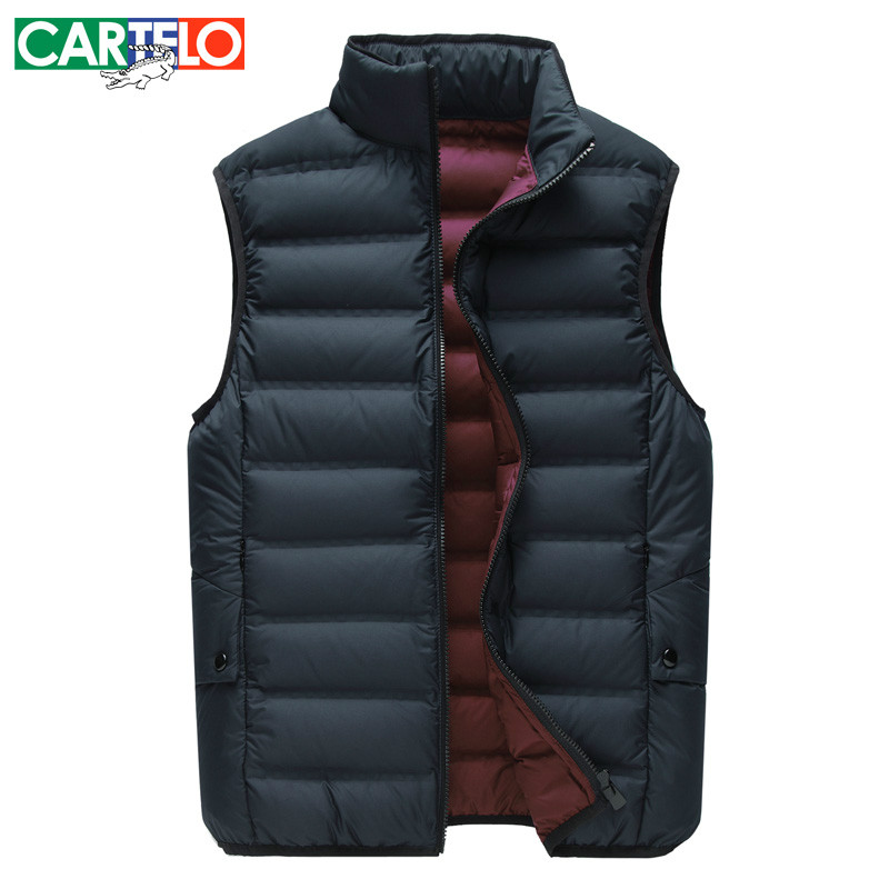 Cartelo/brand Slim 90% Duck S-xxxl Casual Down Vest New Winter Men's Collar Slim Warm Down Vest Short Paragraph For Men(China (Mainland))