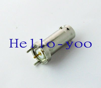Free shipping BNC female Jack PCB mount 4 pin straight with solder post chassis connector(China (Mainland))