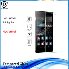 10pcs New arrivals Ultrathin Tempered Glass for Huawei P9 P8 P7 0.26mm Thickness HD Clear Screen Protector with opp package