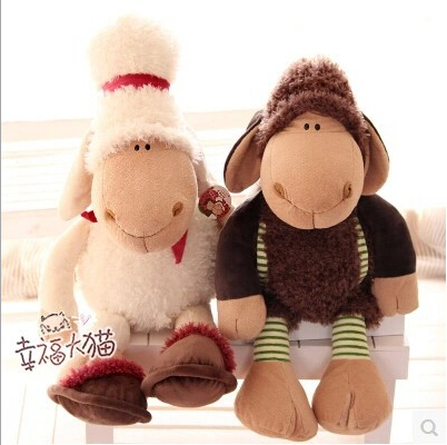 45cm 1piece Germany NICI Cute Dolly Plush Sheep Jolly Lover Sheep Plush Toy Doll Christmas Gift Girl's Gift Free Shipping(China (Mainland))