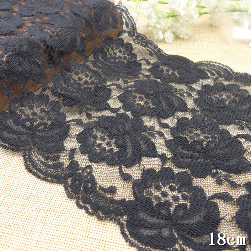Non Elastic Lace Trim Black Width 18cm 20 yards/lot Stretch Ribbon Fabric LC-non-2678 - Kate Princess store